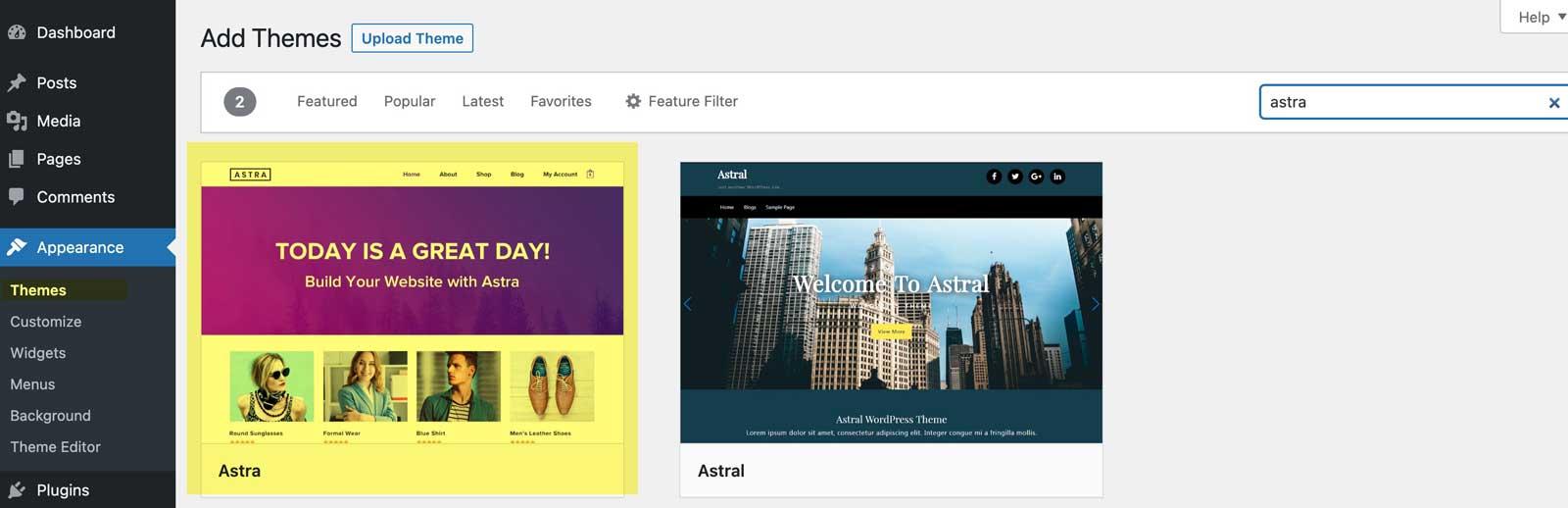 install astra wordpress theme
